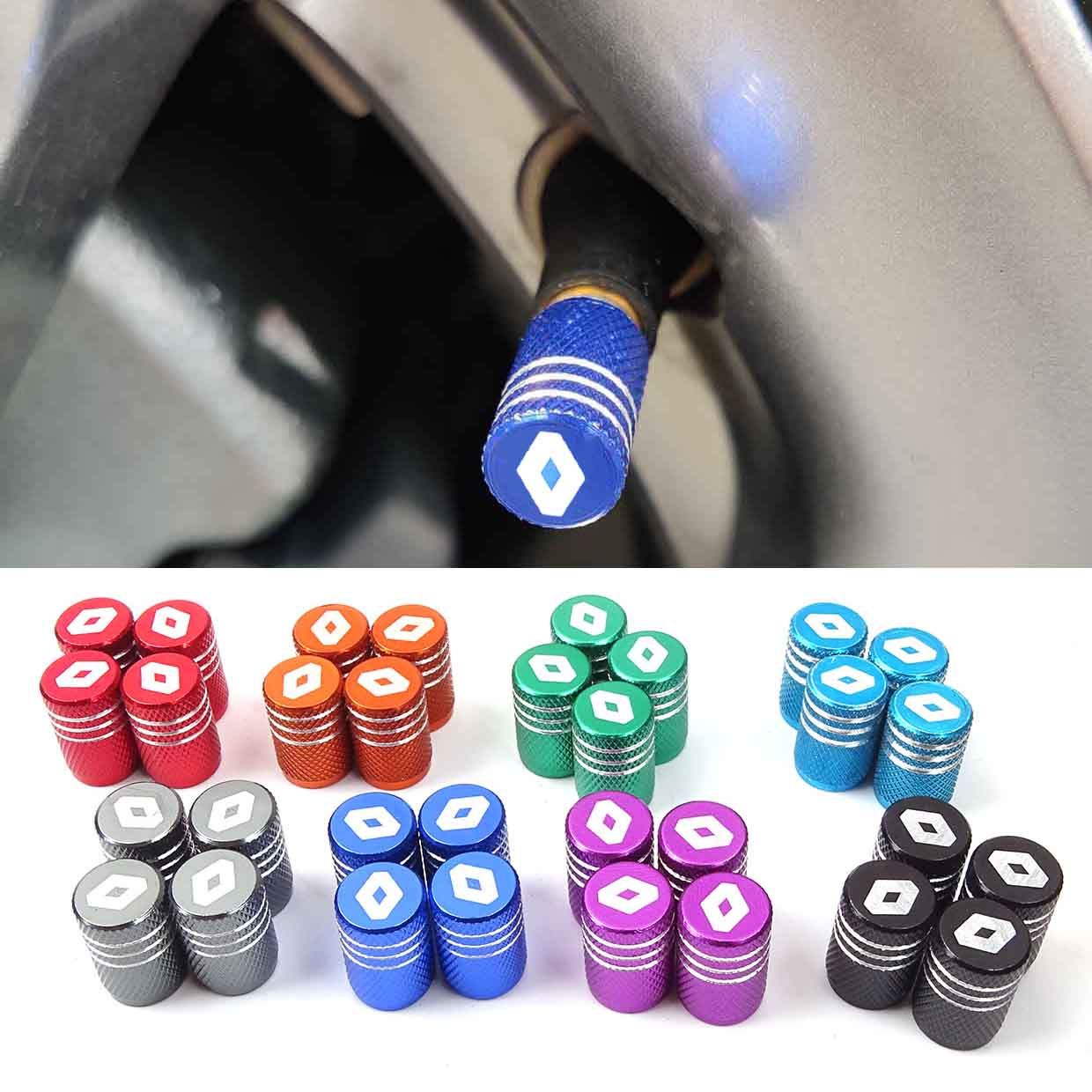 Car Styling 4PCS Auto Fit For Renault Megane 2 Duster Logan Captur Clio Laguna 3 Fluence Kadjar Car Wheel Tire Valve Caps Case