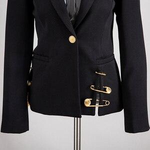Image 5 - CHICEVER Blazer Nero Per Le Donne Con Intaglio Singolo Pulsante di Grandi Dimensioni Slim Casual Coreano Giacche Femminile 2020 di Nuovo Modo di Vestiti