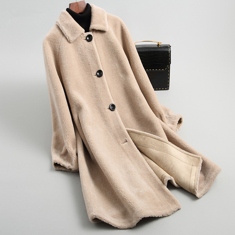 Shearling Women Jackets 2020 Fashion Real Wool Fur Coat Female Long Warm Women's Winter Jacket Merino Clothes 19023LW358 's