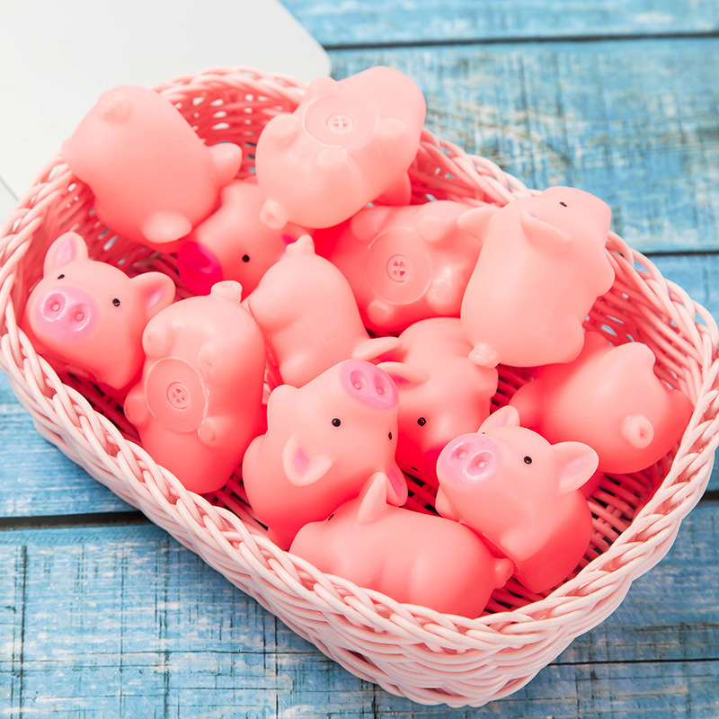 10PCS Kawaii Mini Pink Pigs Toys For Children Squeeze Sound Animals Lovely Antistress Squishies Squeeze Pig Toys For Kids Gift