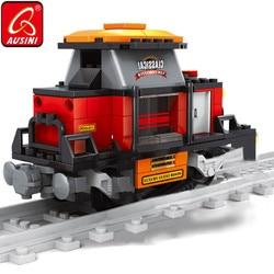 AUSINI Railroad Conveyance Building Blocks Toys Train Model Guard Figure Railway Brick for Children Design City Creator Boys Toy