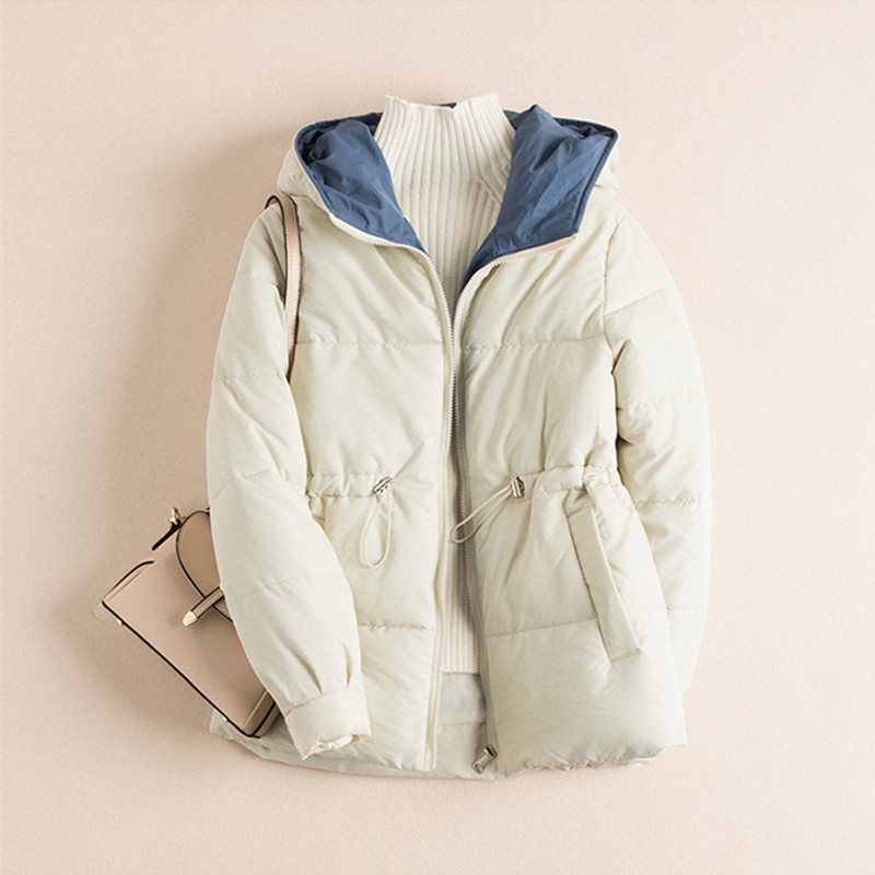 Winter jacket women  2019 New Zipper Parka short Cotton-padded Jacket Hooded Warm Women Solid Coat womens