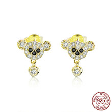 925 Sterling Silver 100% Sir. Bear Animal Stud Earrings for Women Gold Color Clear CZ Paved Ear Pins Jewelry(China)