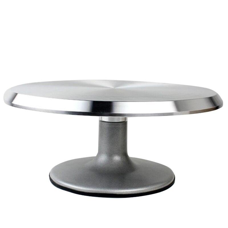 Hlzs-cuisson outil en alliage monté crème gâteau plateau tournant Table support Base tourner autour décoration métal argenté