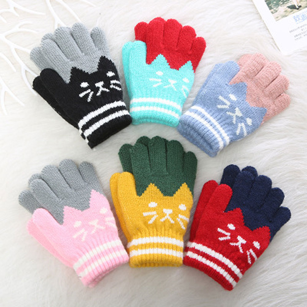 Toddler Boys Girls Warm Knitting Gloves Kids Mittens Winter Full Finger Gloves