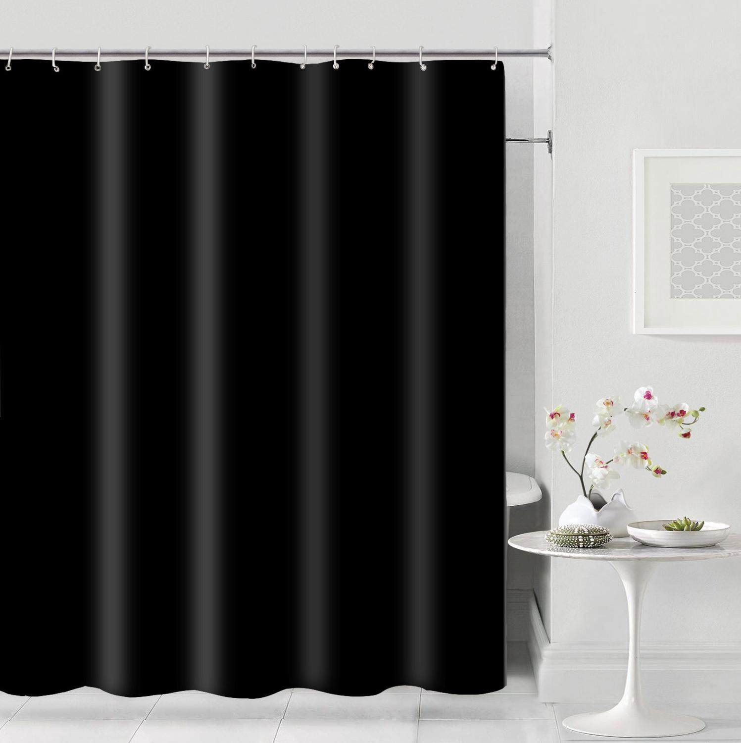 1pc Solid Color Shower Curtain Black