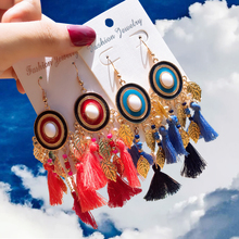 Disc Retro Top Quality  Drop Earrings Bohemian Tassel for Women Handmade 2019 Fashion Woman Jewelry