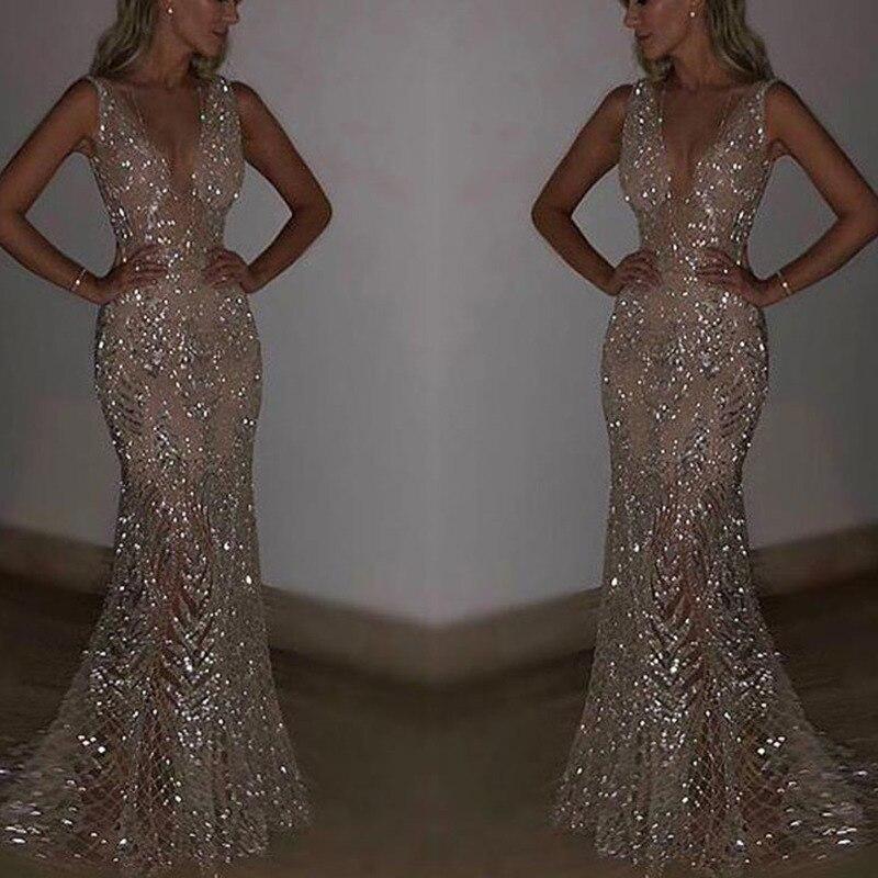 U-SWEAR New Mermaid Sequins Golden Evening Dress Long Prom Party Dresses Gown Formal Women Elegant Robe De Soiree