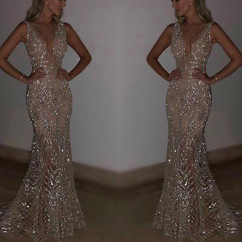 U-SWEAR New Mermaid Sequins Golden   Evening     Dress   Long Prom Party   Dresses     Evening   Gown Formal   Dress   Women Elegant Robe De Soiree
