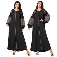 Ethnic Muslim Women Long Sleeve Maxi Dress Robe Abaya Dubai Loose Islamic Kaftan Plus Size Vintage Arab Dress Casual Maxi Gown
