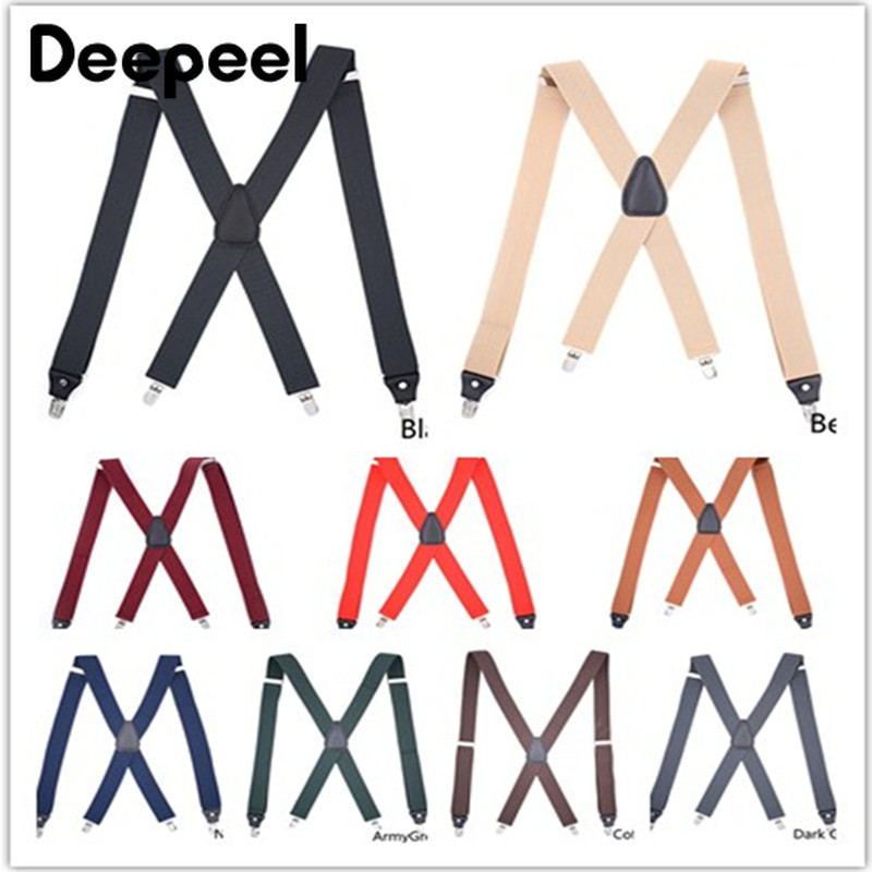 Deepeel 1pc 3.5X120cm Polyester Elastic Band 4 Clip Adjustable Adult Suspenders X Type Clip Buckles Men Suspenders Jeans Strap