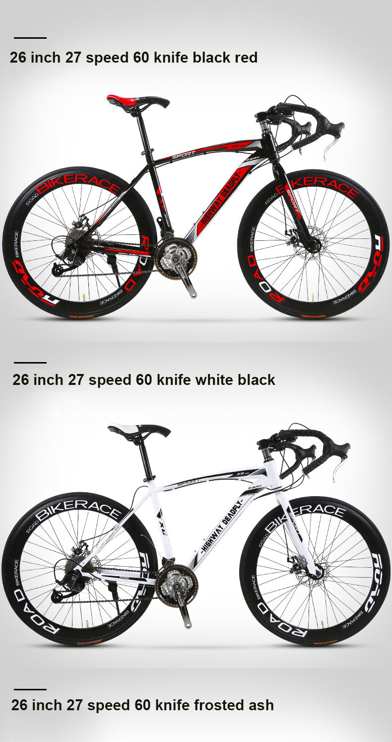 Hf4f898ce17cc451cb6ce7399768846aaV Road Bike Fixed Gear Bicycle 26 inch 24/27 Speed Shift Bend Double Disc Brake Adult Student Men And Women