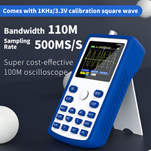 FNIRSI-1C15 Digital Oscilloscope 110MHz Bandwidth 500MS/S Sampling Rate 1KHz/3.3V Calibration Square Wave Measuring Oscilloscope