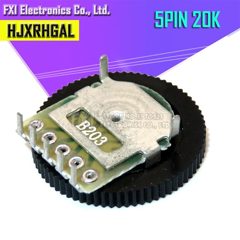 5pcs Double Gear Tuning Potentiometer B203 20K 5Pin 16*2mm Dial Potentiometer