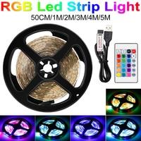 Tira de luces LED RGB 2835 SMD, cinta Flexible de diodos RGB, lámpara impermeable de 5V, cinta de Control remoto 0,5 1 2 3 4 5M
