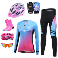 Spring Pro Team MTB Bike Clothing Women Cycling Jerseys Set Lady Long Sleeve Bicycle Clothes Racing Sports Wear