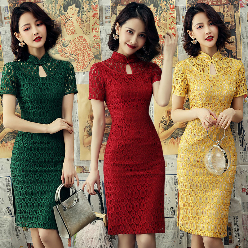 FZSLCYIYI 2019 Chinese Women Lace Qipao Sexy Handmade Button Cheongsam  Novelty Chinese Dress Elegant Lady Party Dress