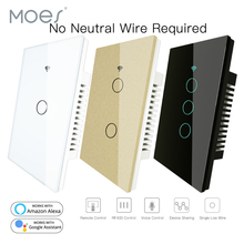 RF433 WiFi Smart Wall Touch Switch No Neutral Wire Needed Smart Single Wire Wall Switch Work with Alexa Google Home 170 250V