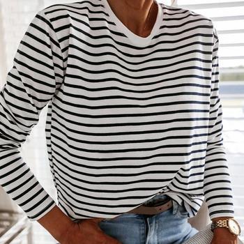Moda damska czarna i bluzka z białymi paskami bluzka na co dzień z długim rękawem O-neck miękki koreański T-Shirt damski T-Shirt damski wiosna 2021 tanie i dobre opinie Shyloli NONE CN (pochodzenie) REGULAR POLIESTER COTTON W paski Z okrągłym kołnierzykiem Pełne BLUZKI Zestaw jednoczęściowy