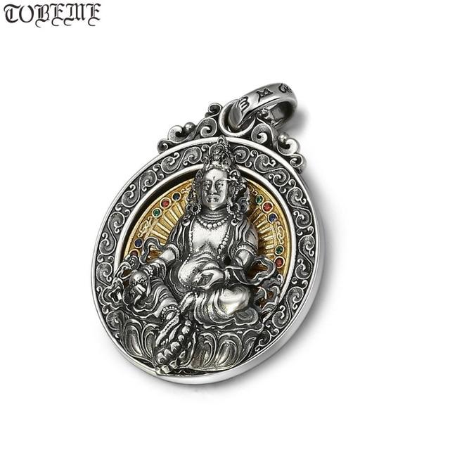 Real 925 prata tibetano amarelo jambhala buda pingente de prata esterlina zambhala riqueza buda pingente amarelo fortuna deus pingente