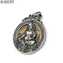 Véritable 925 argent tibétain jaune Jambhala bouddha pendentif en argent Sterling Zambhala richesse bouddha pendentif jaune Fortune dieu pendentif