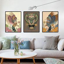 Cuadro de lienzo con estampado de animales de estilo indio, pintura al óleo abstracta nórdica, decoración creativa para el hogar, arte de pared, decoración de salón