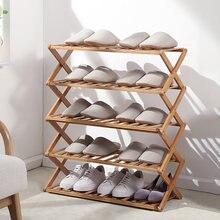 Scarpiera multistrato semplice scaffale economico per uso domestico porta dormitorio portaoggetti scarpiera pieghevole in bambù senza installazione
