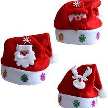 1 шт., горячая Распродажа, светодиодный светильник в виде Санта-Клауса, мигающий костюм, вечерние, красные кепки, детские, рождественские, рождественские, вечерние, милые кепки, подарки на год, Декор