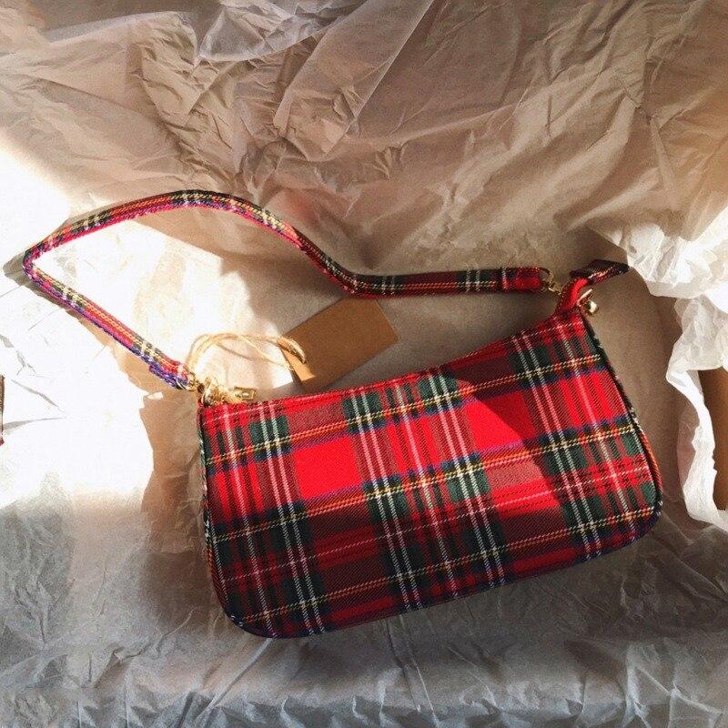 Gran oferta 2020, bolsos retro vintage de diseñador para mujer, bolsos de mano a cuadros franceses, bolso rojo, elegante, pequeña bolsa femenina, bolsos de hombro