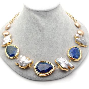 Y·YING 21'' natural Grey Keshi Pearl Blue Lapis chunk Yellow Gold color  Plated Chain choker Necklace classic for women