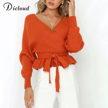 DICLOUD V Neck Ruffle Sweater Women Winter Warm Long Sleeve Sexy Backless Pullovers Knitted Rompers Winter Clothing Ladies(China)