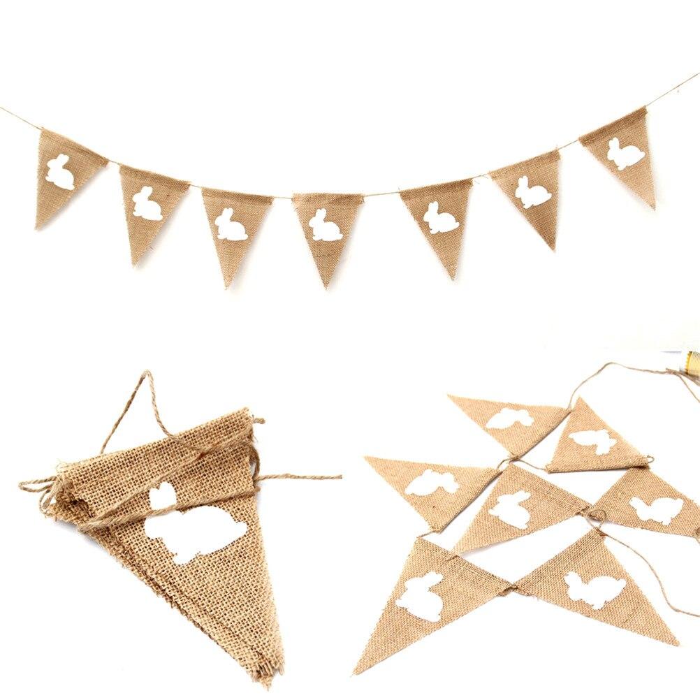 2,2 м винтажный джутовый песчаник кролик висячий баннерный баннер гирлянда пасхальное праздничное украшение Пасхальный фестиваль баннер