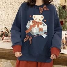 Deeptown Vintage Sweatshirt Women Bowknot Kawaii Hoodies Women Korean 2021 Fashion Long Sleeve Velvet Funny Bear Print Pullover