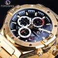 Forsining золотые мужские механические часы гоночный автомобиль Дизайн Автоматический 3 Sub циферблат с датой стальные ремни военные спортивные ...