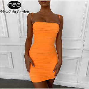 Image 1 - NewAsia 2 Layers Women Ruched Dress Summer 2019 Spaghetti Straps Elastic Mesh Bodycon Dress Sexy Beach Casual Party Clun Dress
