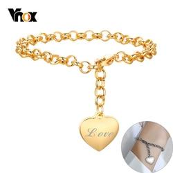 Vnox Adjustable Women Bracelet Customized Heart Charm Name Engraving Elegant Box Chain Bracelet Lady Girl BFF Jewelry Gift
