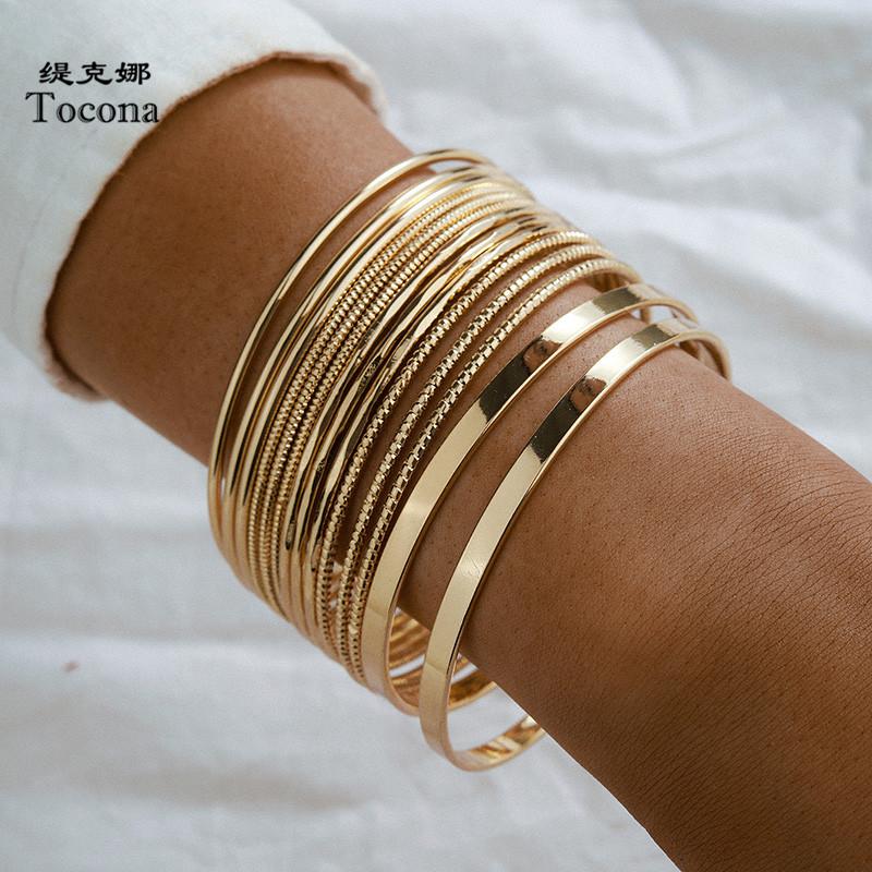 Tocona 14pcs/sets Punk Gold Color Bracelets for Women Trendy Alloy Metal Bangle Bohemian Jewelry Accessories Wholesale 15165
