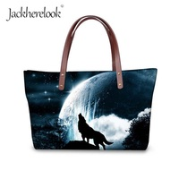 Jackherelook Cool Wolf Printing Handbags Akita Dog Shoulder Bag for Women Lady Shopping Bag Fashion Travel Tote Bolsas Femininas