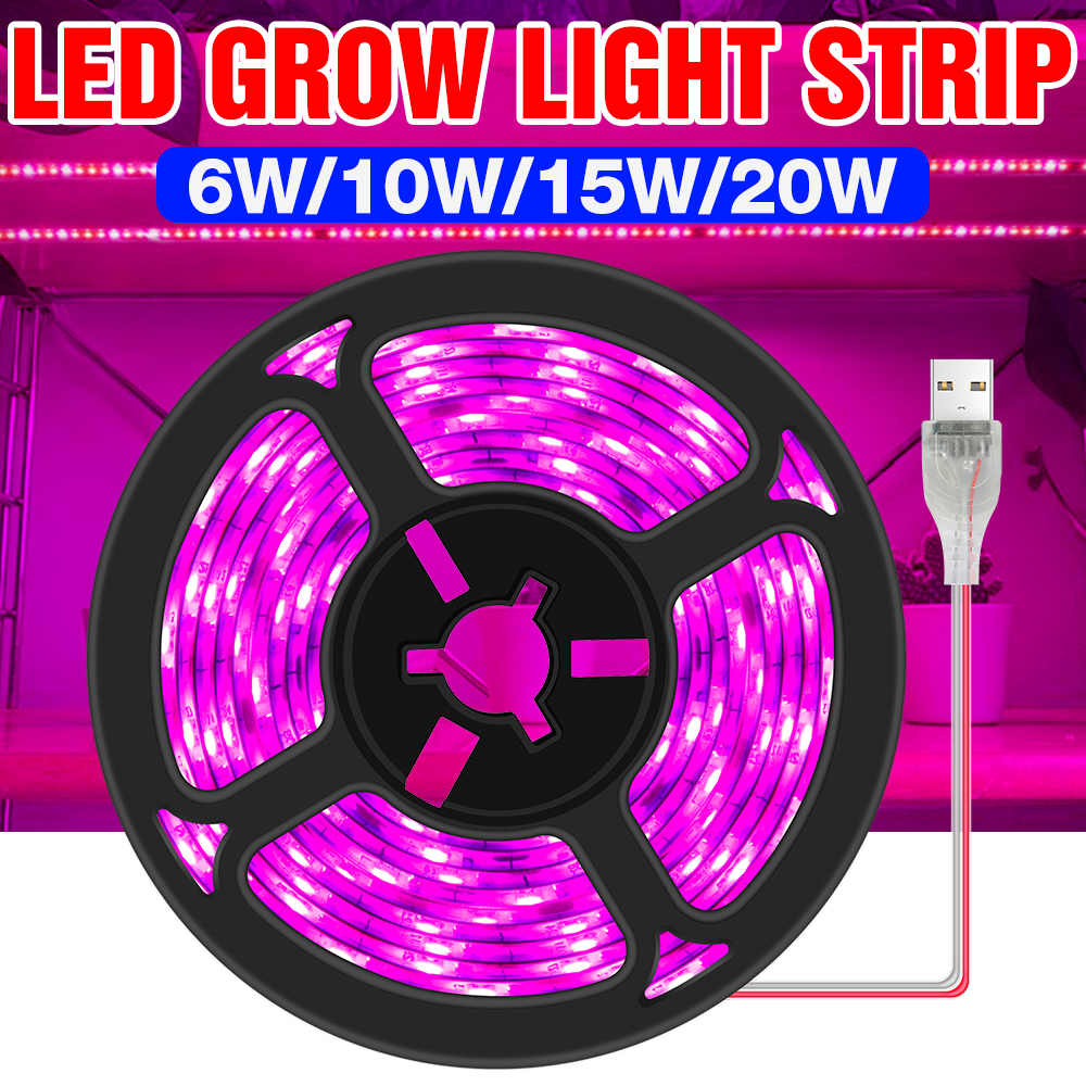 LED Full Spectrum Phyto Lamp USB 5V Grow Light Strip 0.5m 1m 2m 3m 2835 SMD Plants Flowers LED Greenhouse Cultivo Hydroponic