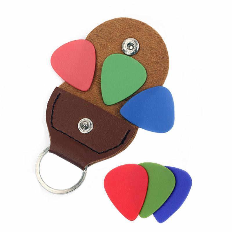 Qualidade superior guitarra picareta titular couro genuíno plectrum caso saco chaveiro forma guitarra accessorie