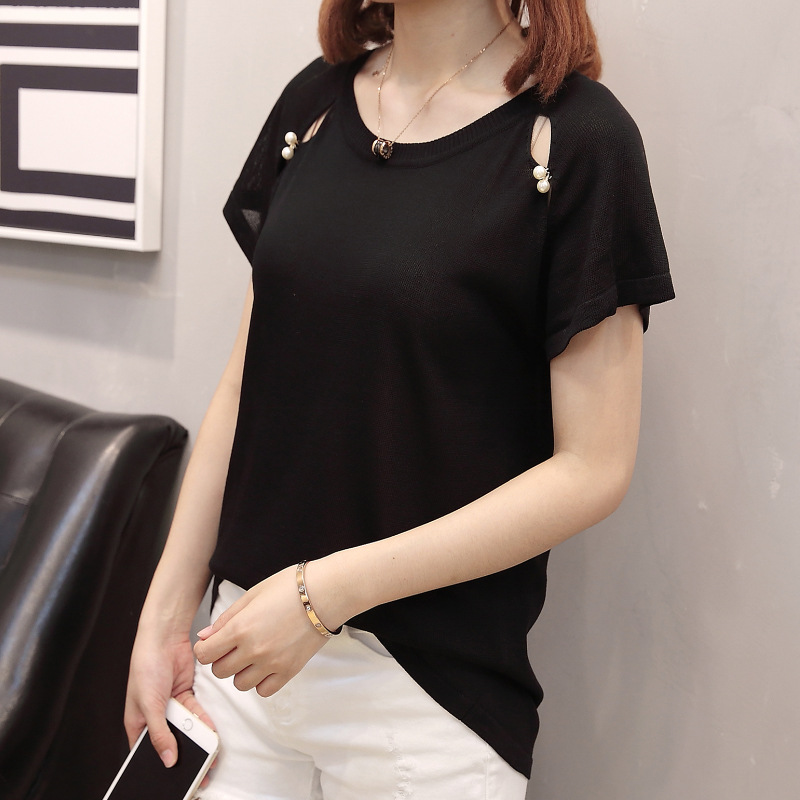 2019 Summer Wear New Style Chubby Sister Fashion Crew Neck Beads Viscose Short Sleeve T-shirt Knit Low Waist Jersey On Behalf