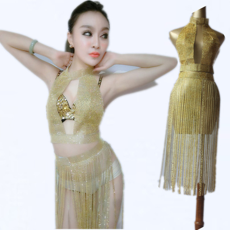 Flash Drilling Tassel Dress Jazz Dance Costumes Women Stage Costume Bar Dj Sexy Nightclub DS Singer Party Dress Rave WearDQS2630