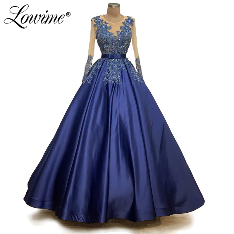 Blue Applique Pageant Gowns Puffy Long Sleeves Illusion Neckline Dubai Wedding Party Dress 2020 Muslim Evening Prom Dresses Robe
