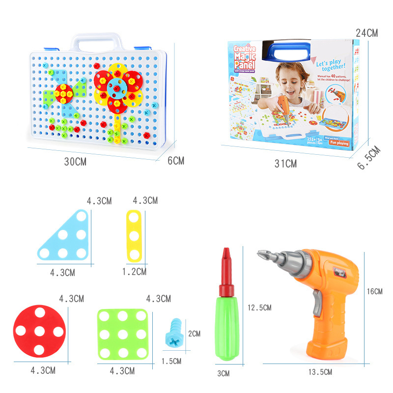240Pcs DIY Creative Mosaic Building Blocks Electric Drill Nut Assemble Kids Toy