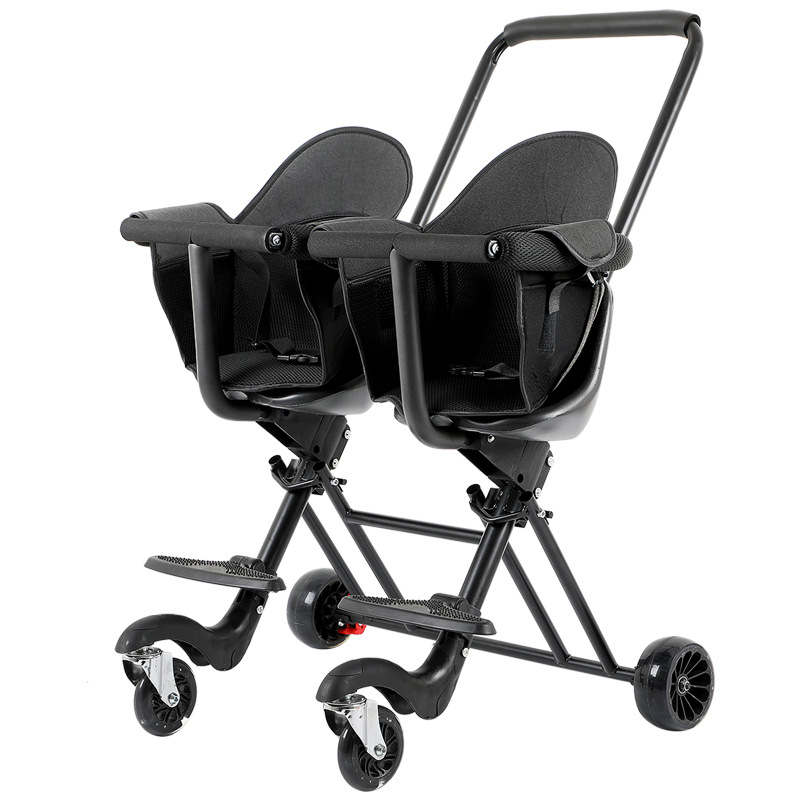 Twin Baby Stroller Artifact, Children's Twin Trolley, Lightweight and Simple Twin Baby Stroller, Outdoor Travel Trolley