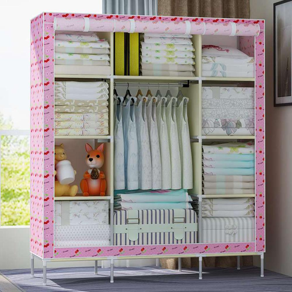 Super Large Triple Portable Folding Wardrobe Reinforced Clothes font b Closet b font Organizer
