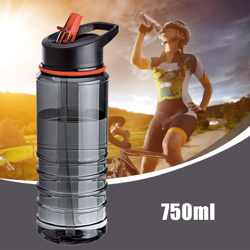 750ML Outdoor Water Bottle Flip Tritan Straw Drinks Water Bottle Bike Drink Bottle with Lid Hiking Camping Plastic water cup image