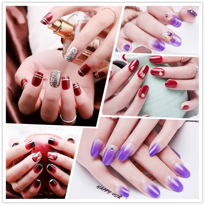 8 Colors Crystal Artificial Nails Tips Colorful Fake Press On Red,purple Coffin Makeup Tools Set Poolisher Sticker