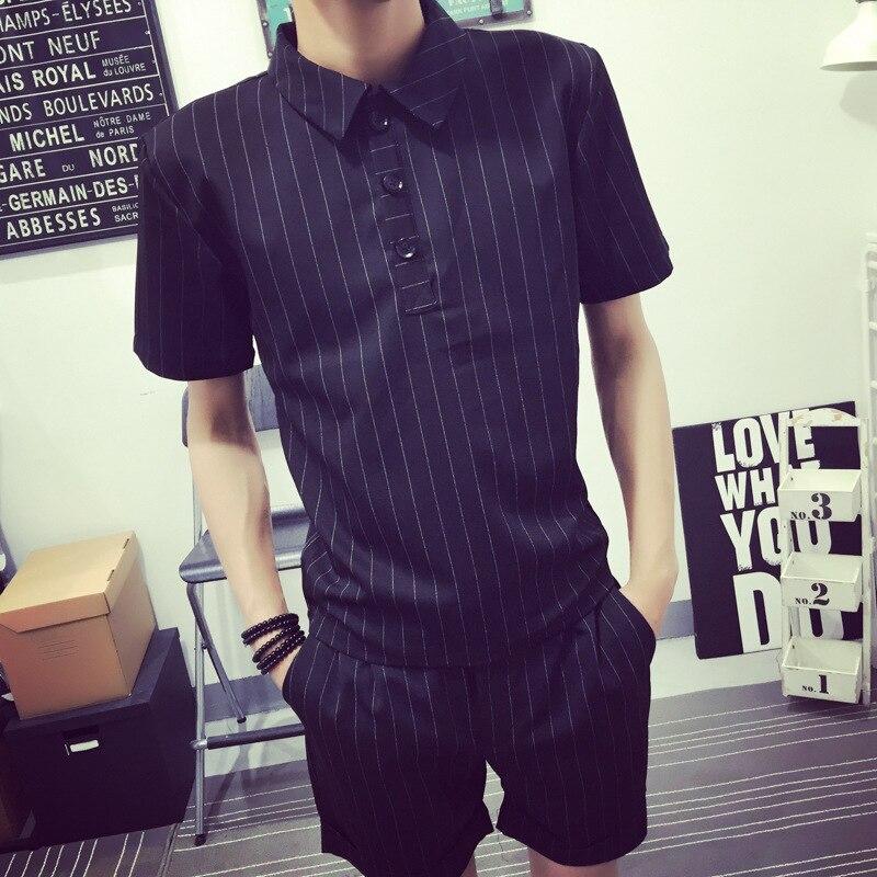 Summer Stripes Short Sleeve T-shirt MEN'S Suit Korean-style Trend Slim Fit Handsome Versatile Half Sleeve Polo Clothes Two-Piece