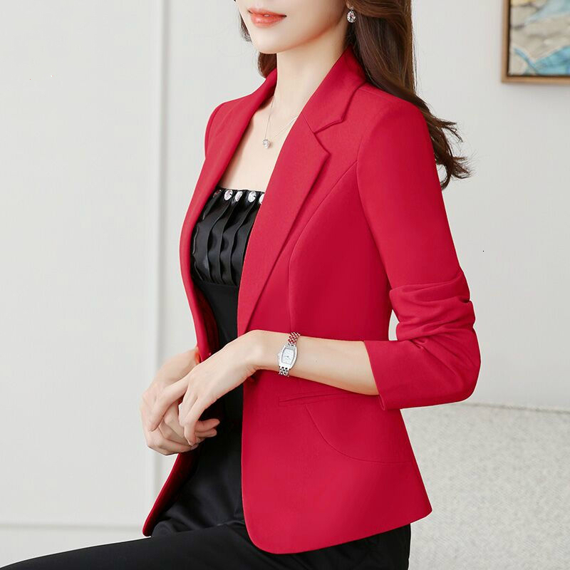 New 2020 Autumn Winter Women Blazer Solid Color Jacket Basic Jackets Candy Color Long Sleeve Slim Suit Blazer Female Small Suit